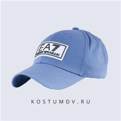 Кепка EA7 голубая с белым с козырьком средней длины арт 2315
