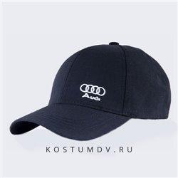 Кепка черная бейсболка автомобиль Audi козырек и ремешок арт 0298