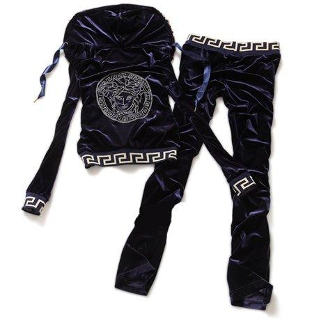 Велюровая кофта женская и штаны Versace 2019 темно синие