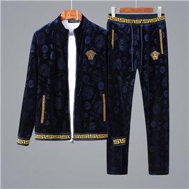 Повседневный спорт костюм Versace бархат цвет синий с золотым арт 9036
