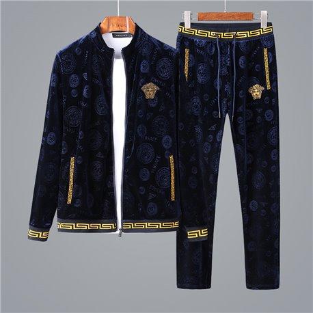 Повседневный спорт костюм Versace материал бархат цвет синий с