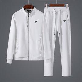 Однотонный мужской спорт костюм Армани белый