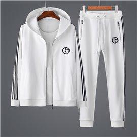Белый спорт костюм для мужчин с капюшоном Джорджио Армани арт 3340