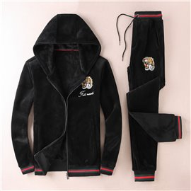 Велюровый спортивный костюм для мужчин черный Гуччи с тигром 3341