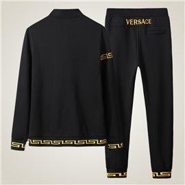 Черный мужской спорт костюм Версаче хлопок