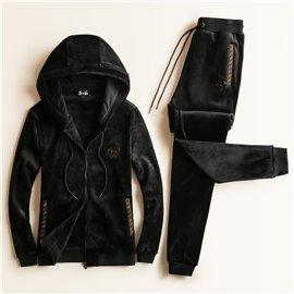 Утепленный спортивный костюм с Versace черный велюр