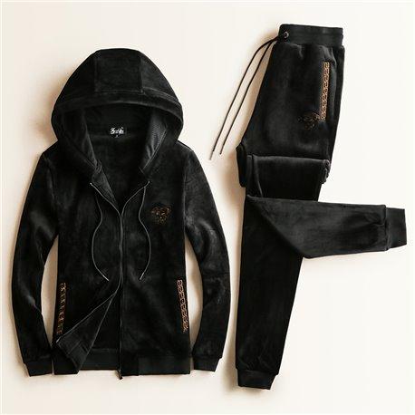 Утепленный спортивный костюм с капюшоном Versace черный велюр