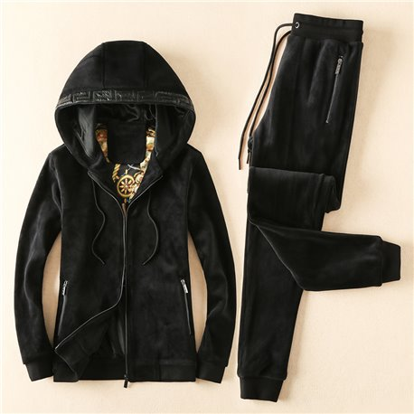 Теплый мужской спорт костюм Versace черный капюшон