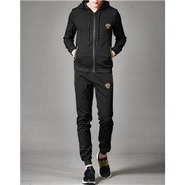 Весенний стильный костюм спортивный с капюшоном от Версаче черный