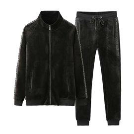 Стильная велюровая кофта на молнии и штаны Versace черные 3351