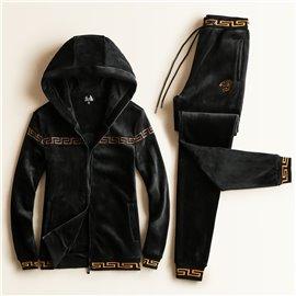 Теплый костюм спортивный Версаче черный бархат с капюшоном