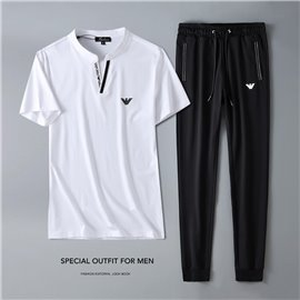 Белый мужской летний костюм Armani штаны с футболкой