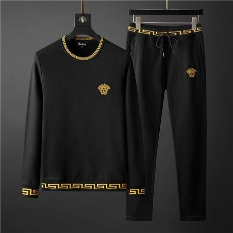 Черный велюровый мужской костюм без капюшона VERSACE 3454
