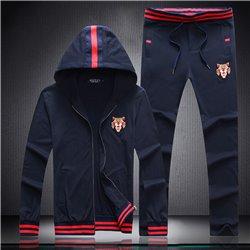 Темно синий повседневный костюм для спорта из трикотажа Gucci 3460 с капюшоном