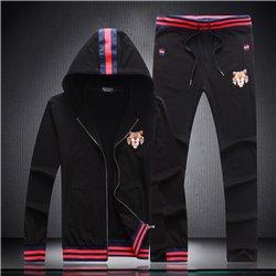 Черный костюм GUCCI с капюшоном спортивный демисезонный для
