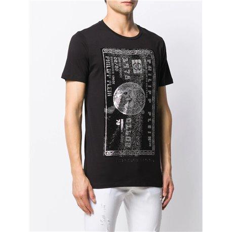 Черная футболка Philipp Plein с долларом на груди арт 6667