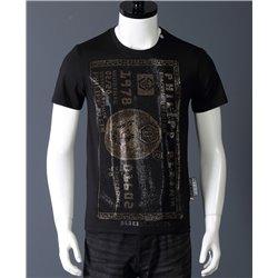 Мужские футболки Philipp Plein черные с золотым доларом из стразов 6668