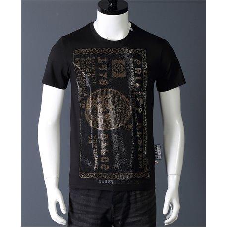 Мужские футболки Philipp Plein черные с золотым доларом из