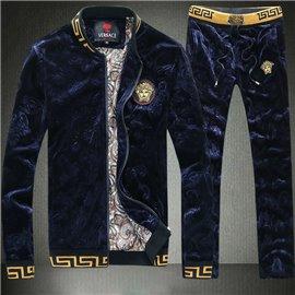 Мужской спорт костюм Версаче велюровый темно синий арт 3656