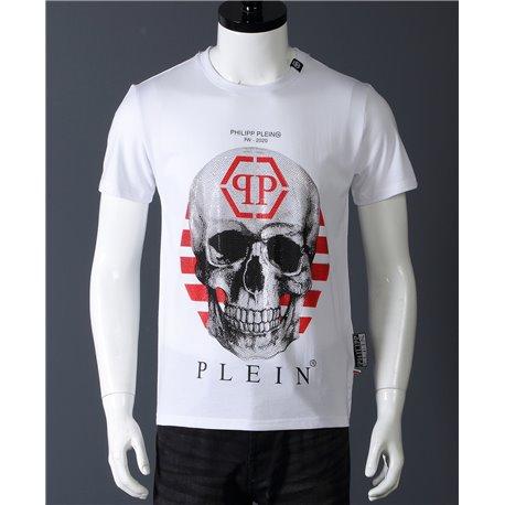 Мужская белая футболка PP с черепом арт 6671