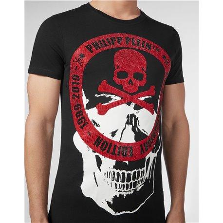 Черная футболка PP с черепом на груди арт 6676