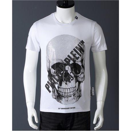 Белая футболка с черепом Филипп Плейн из хлопка мужская