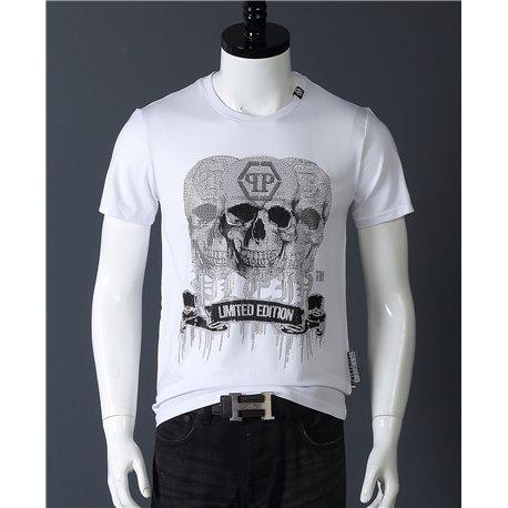 Белая футболка Филип Плейн для мужчин с 3 черепами