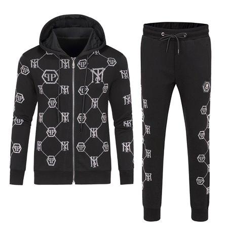 Костюм для мужчин спортивный черные штаны с кофтой на молнии арт 4450