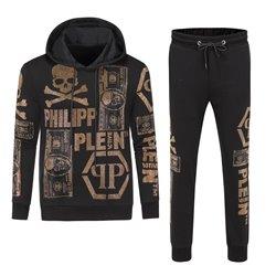 Мужские костюмы PP черные с золотыми стразами 4451