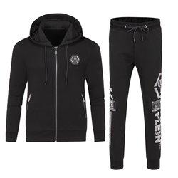 Черный спорт костюм для мужчин Philipp Plein штаны и куртка с капюшоном