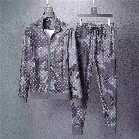 Серый спортивный костюм LV Supreme для мужчин