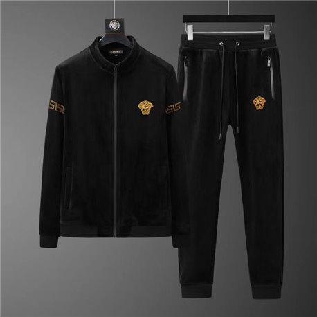 Велюровый костюм Versace без капюшона черный для мужиков арт 4511