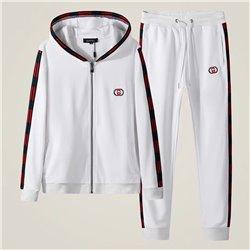 Белый повседневный костюм Гучи кофта с капюшоном и белые брюки арт 4514