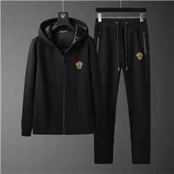 Костюм Версаче с капюшоном черный с прямыми штанами арт 4515
